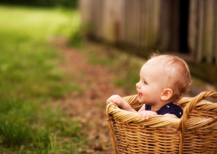 baby by barn