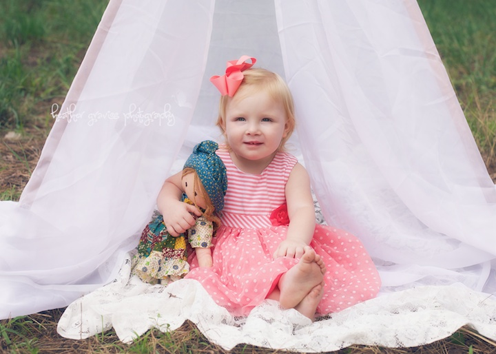 baby girl in tent