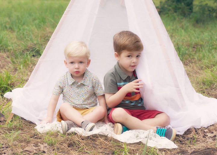 boys in tent