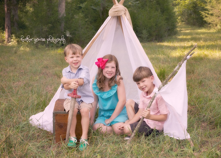 kids and white tent