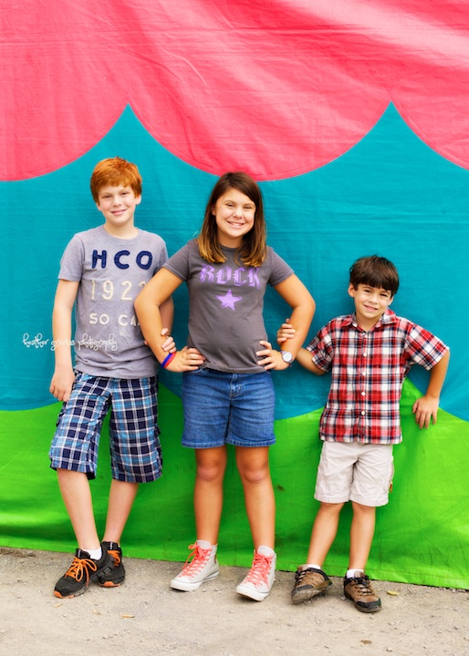 kids at the fair tent