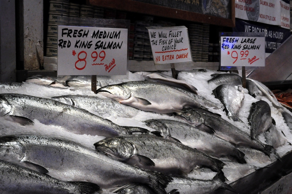 Salmon on Sale at Pike Place Market in Seatlle