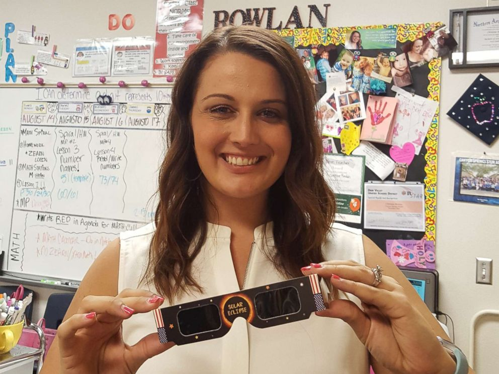 Christine Rowlan, a math teacher at Canyon Springs STEM Academy in Anthem, Arizona, purchased 1,000 solar eclipse glasses for the whole student body and faculty.