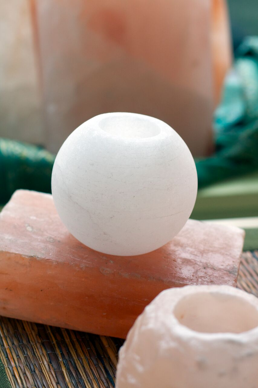 white himalayan salt votive holder
