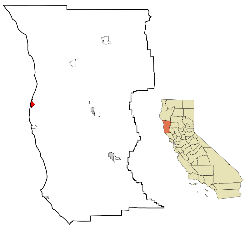 Fort Bragg is the tiny red splash on the left map of Mendocino County. Pretty right? Source: Wikipedia