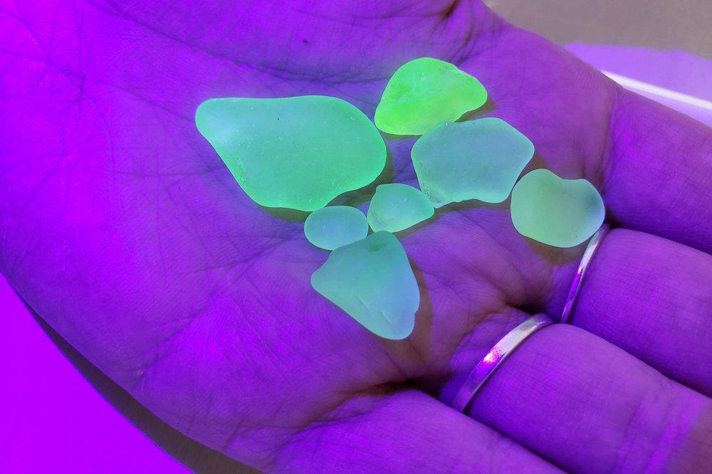 Yellow Green Uranium Seaglass Black Light Mountain Beach Collection