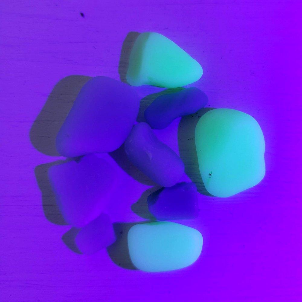Vaseline Seaglass Under Blacklight Uranium Glass Mountain Beach Collection