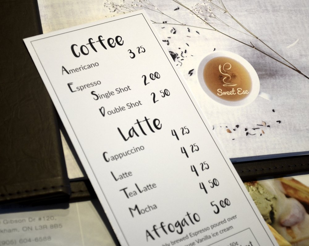 Check out our coffee menu the next time you visit us!