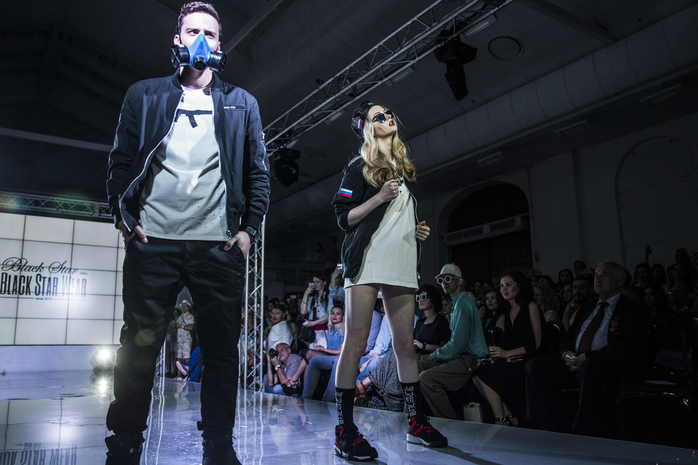 Black Star Wear collection is being presented during a fashion show New Russian in New Manege in Moscow