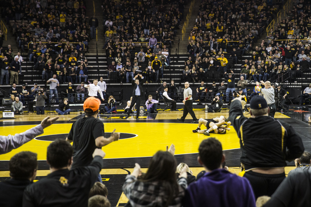 Student wrestling match in Iowa City