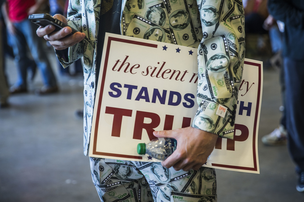 Donald Trump's supporter at the campaign rally in New Orleans, Louisiana