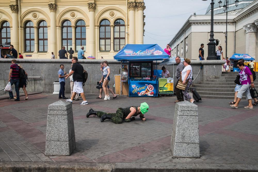 Pussy Riot member at Leningradsky railway station