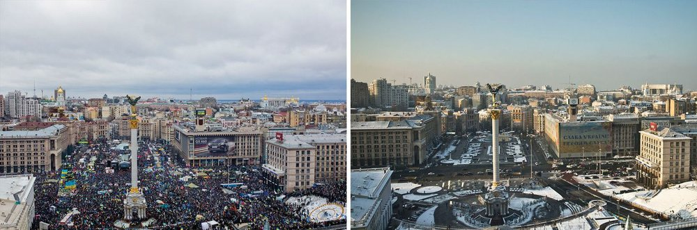 "(Left) The view from Hotel Ukraine on Independence Square, overlooking the tent city where hundreds of thousands of people gathered to protest against President Viktor Yanukovych in February.  (Right) The same view today from the top of the hotel. A giant blue and yellow poster that reads ""Glory to Ukraine! Glory to heroes!"" now covers the burned out Trade Unions Buildings, center-right in the photo."
