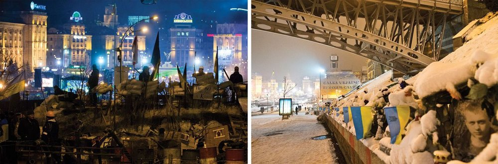 "(Left) Euromaidan volunteers stand guard on the barricade on Institutska Street which cuts through central Kiev, from Independence Square to the city's government district. This big barricade was erected beneath a skybridge to prevent the government's security forces from storming the protester's tent city.   (Right) Now part of the street has been renamed ""Alley of the Heavenly Hundred,"" in reference to the Ukrainians who were killed here during the revolution. Portraits and memorials with flags and flowers line the street. People come out daily to pay their respects to the fallen."