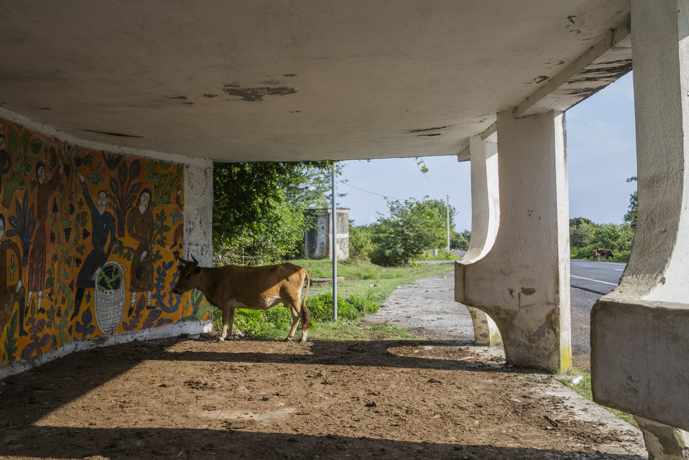 Gorgeous Soviet-era bus stops with mosaic or neoclassical railroad bridges are mostly abandoned and are rapidly detiorating
