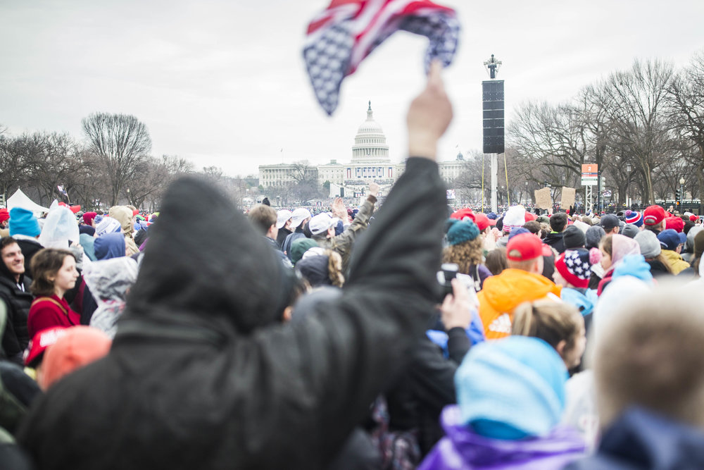 A supporter waves an American flag at the National Mall as Donald Trump is sworn in as the 45th president of the US on January 20, 2017