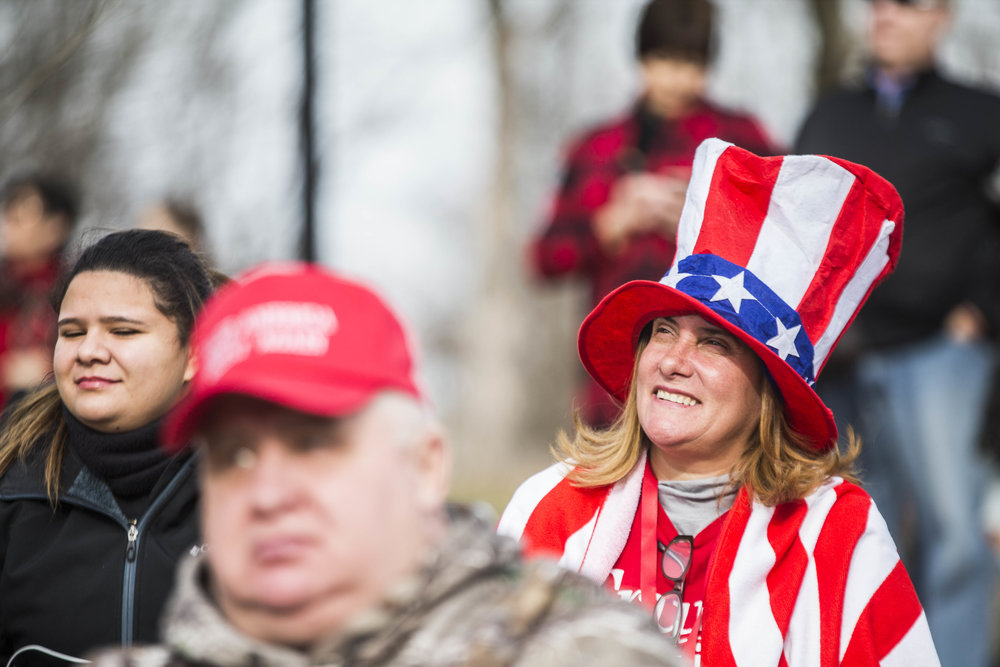 A woman cheers at Trump celebratory concert at Lincoln Memorial on January 19, 2017