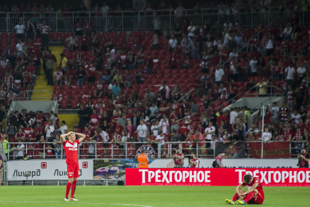 Spartak Moscow players Evgeny Makeev (left) and Ilya Kutepov react as their team loses in UEFA Europa League 3rd qualifying round to an underdog team AEK from Cyprus. August 4th, 2016