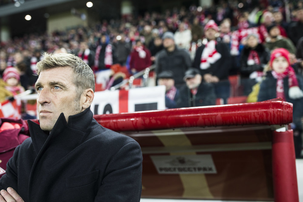 Massimo Carrera, Spartak Moscow head coach, prepares to lead his team in a Russian Premier League game against Orenburg. Carrera was initially signed to be a defense coach under Dmitry Alenichev, who was fired after a loss to AEK. He was assigned to be substitute coach for the first games after that, but the team went one to win all of them and Carrera was promoted permanently. April 3rd, 2017