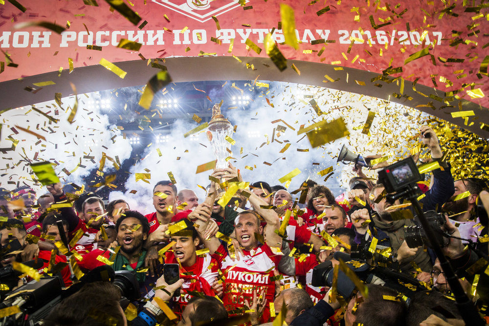 Spartak Moscow team players and fans celebrate their championship