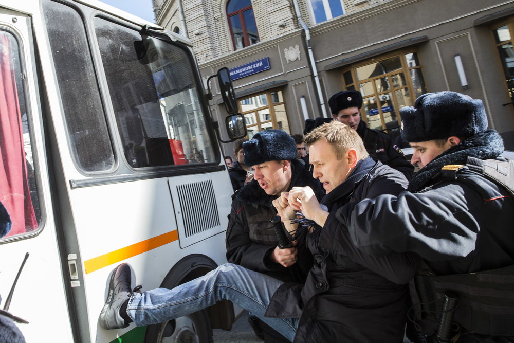 Alexey Navalny is detained at the site of an unpermitted rally on Moscow's main Tverskaya street