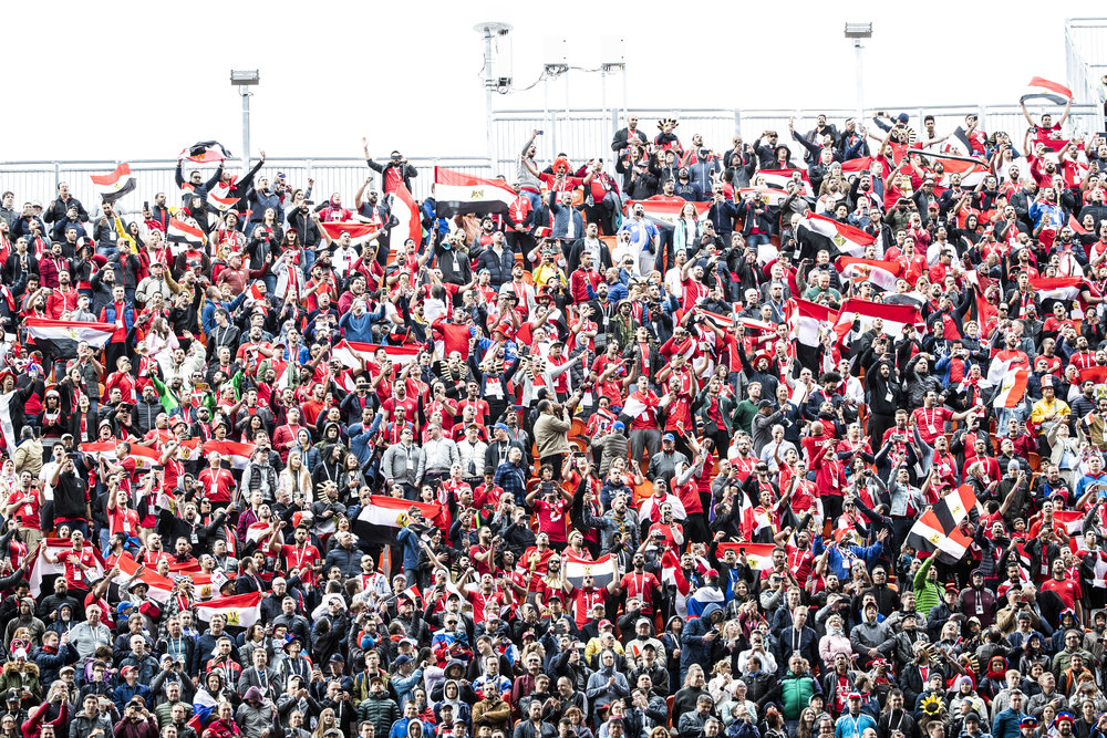 Egyptian fans cheer welcoming their team to the pitch before the game against Uruguay in Yekaterinburg