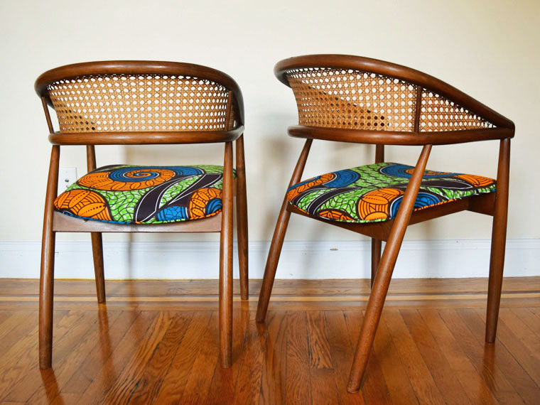 African Print Mid Century Caned Dining Chairs