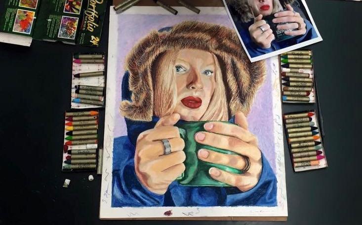 Oil Pastel Self Portrait