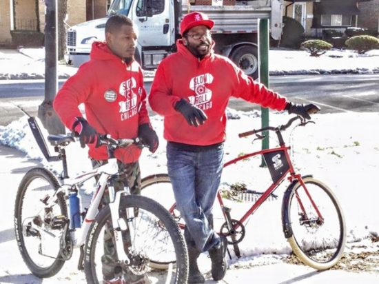 Slow Roll Chicago Co-Founders Jamal Julien (left) and Oboi Reed at Nat King Cole Park in the Chatham neighborhood on the Southside of Chicago.