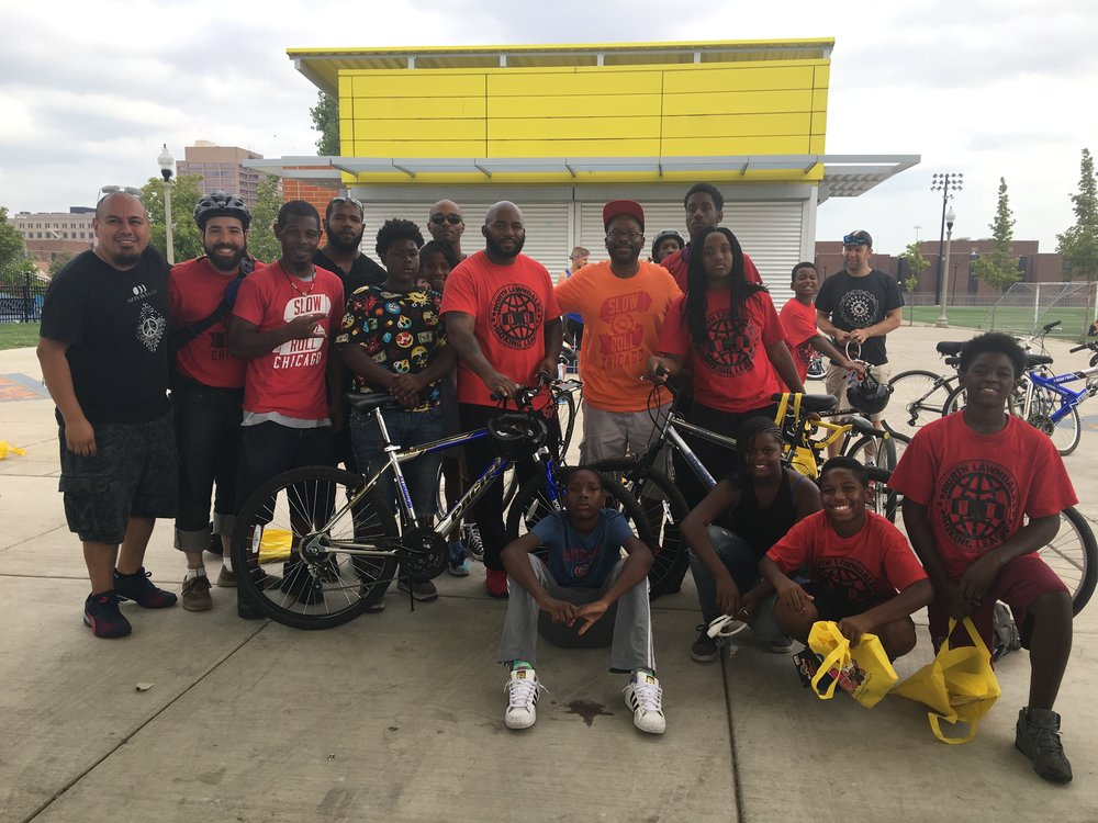 The We Ride Juntos: Promoting Safe Neighborhoods ride in the Little Village and North Lawndale neighborhoods of Chicago.