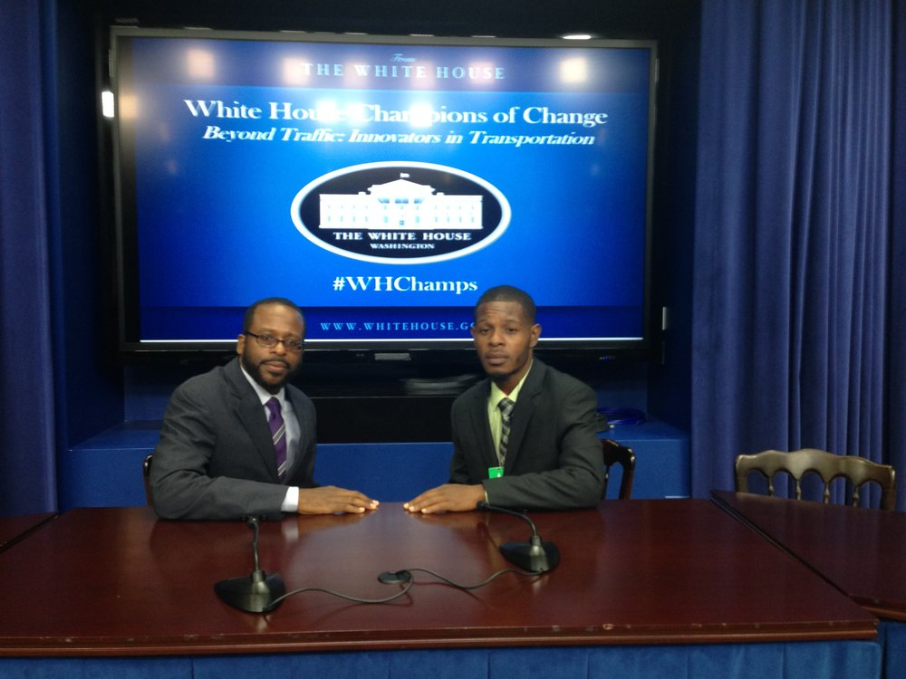 Oboi and Jamal at The White House for The 2015 White House Transportation Champion of Change Award Ceremony.