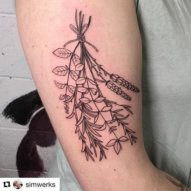 """Done by Brad @simwerks 🙂 ・・・ """"Bundle of herbs from today. """" #tattoo #tattoos #tattooing #tattooed #tattoodo #seattletattoo #seattletattooartist #blackandgreytattoo #blxckink #floraltattoo #herbtattoo #lavendertattoo #lineworktattoo #finelinetattoo #blackwork #ink #inked #skinart #instatattoo #tatuajes#skinandsoultattoo"""