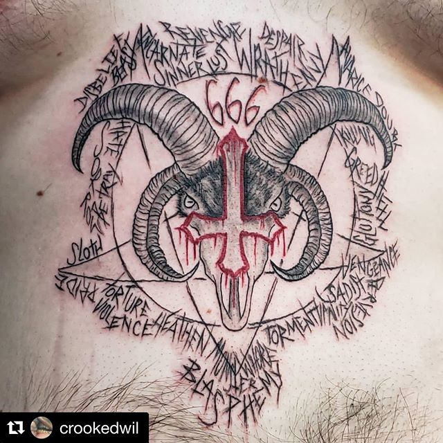 """'Burst into flames'🔥⛪️ Done by Wil @crookedwil ・・・ """"Client-""""I want a tattoo with triple sixes and an inverted cross that would make me burst into flames if I walked into a church."""" Me-""""I got you, fam."""" thanks Jakob, you always give me such great inspiration and so few limitations, which makes my days the most fun. Always appreciated. """"#tattoo #tattooer #evil #darkside #pentagram #666 #darkart #blxckwork #sinner #sevendeadlysins #deadlysins #skinandsoul #skinandsoultattoo #blackandgreytattoo #goat #goatskull #keeptattooingweird #keeptattooingevil"""