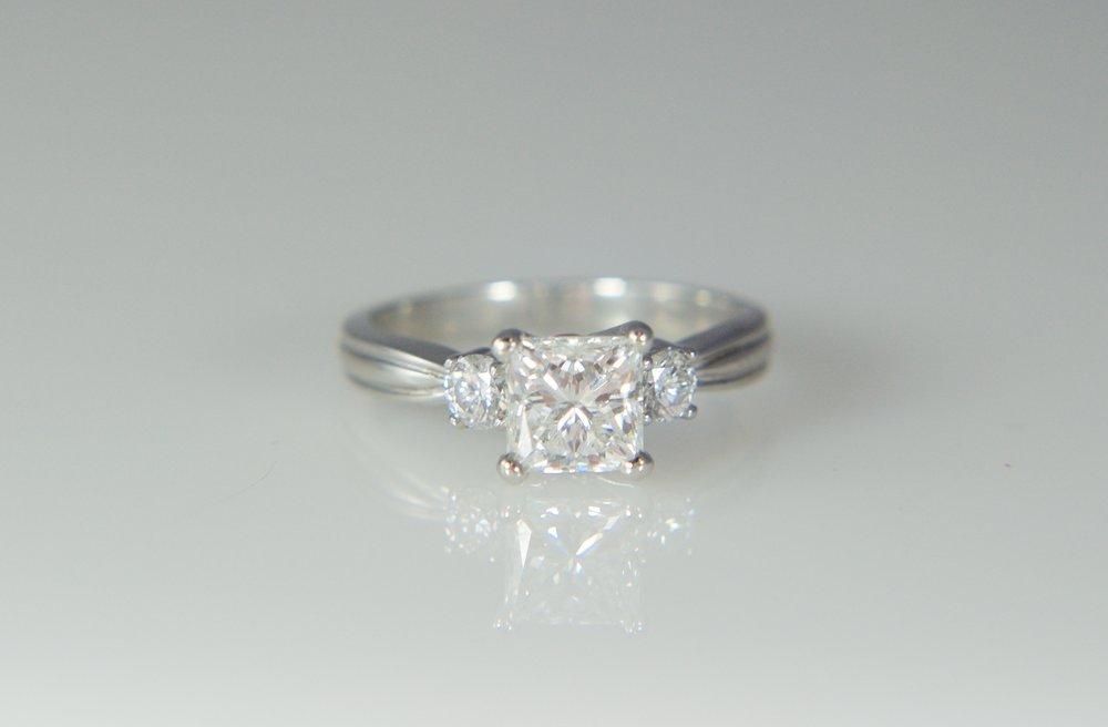 Princess three stone diamond engagement ring