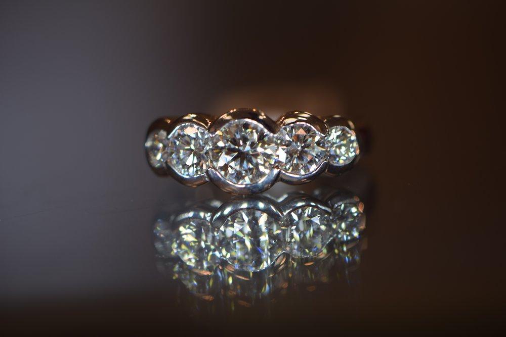 Five stone diamond wedding ring