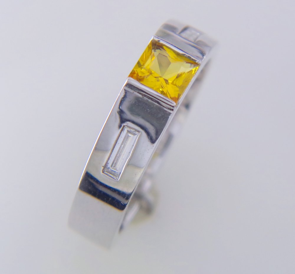 Men's Yellow sapphire and diamond band