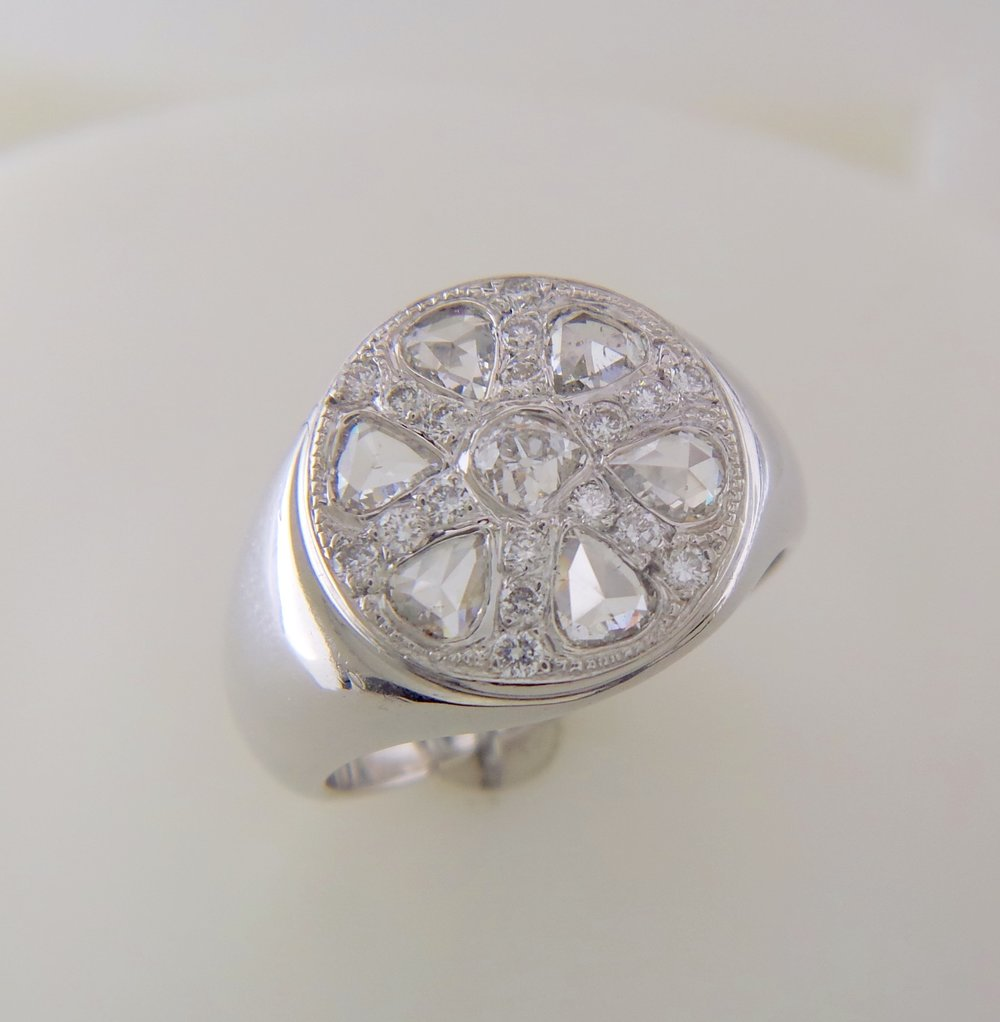 Men's rose cut diamond ring
