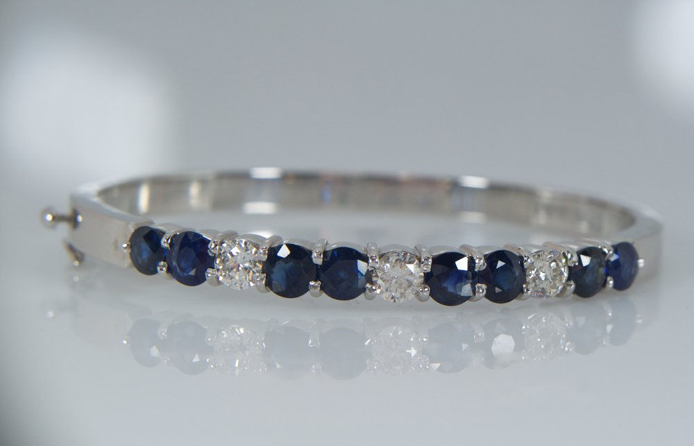 Diamond and Sapphire bangle bracelet
