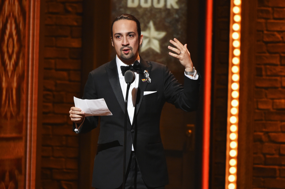 Lin-Manuel Miranda gives an acceptance speech at the Tony Awards on Sunday, June 12, 2016. (Theo Wargo/Tony Awards Productions)