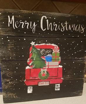 """Xmas7: Merry Christmas Pickup (14"""" x 14"""")"""