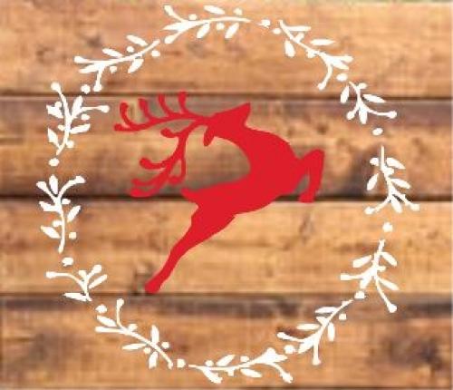 """Xmas17: Reindeer w/wreath (14"""" x 14"""")"""