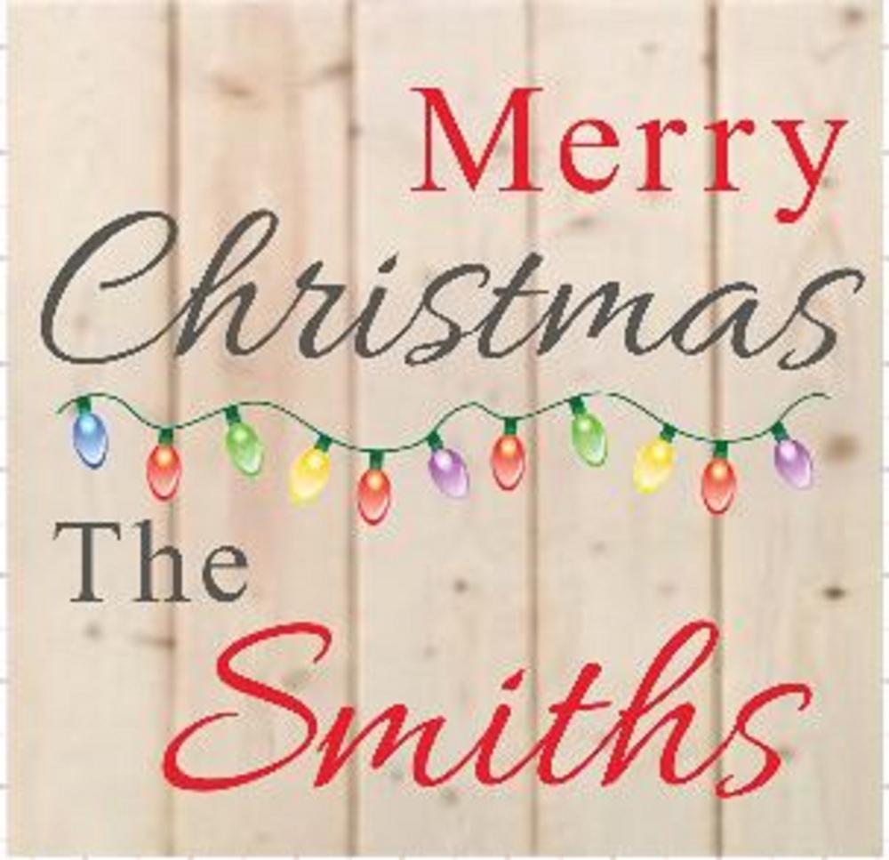"Xmas15: Merry Christmas Personalized (14"" x 14"")"