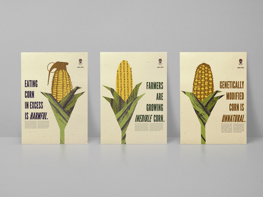 Posters for the Campaign that discuss the unnaturalness of corn.