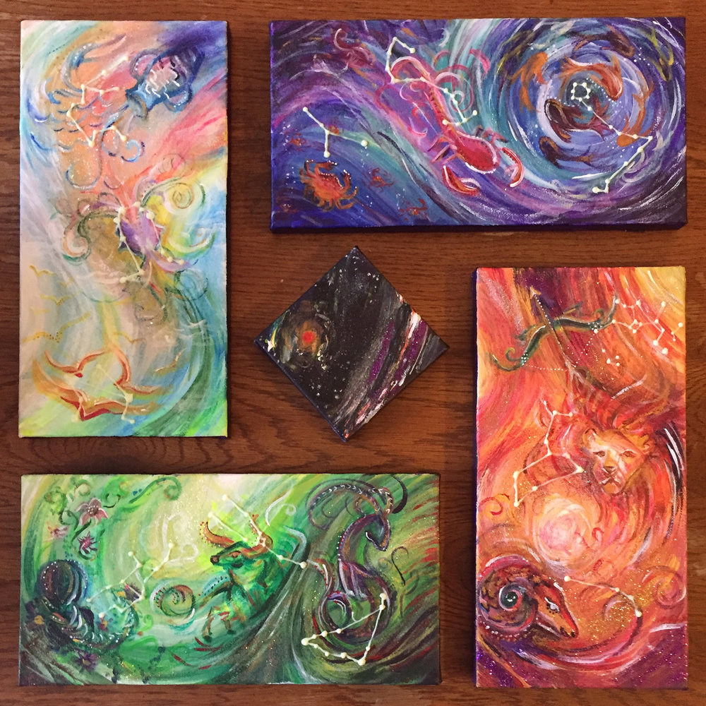 System   5 canvases, acrylic and glitter on canvas.