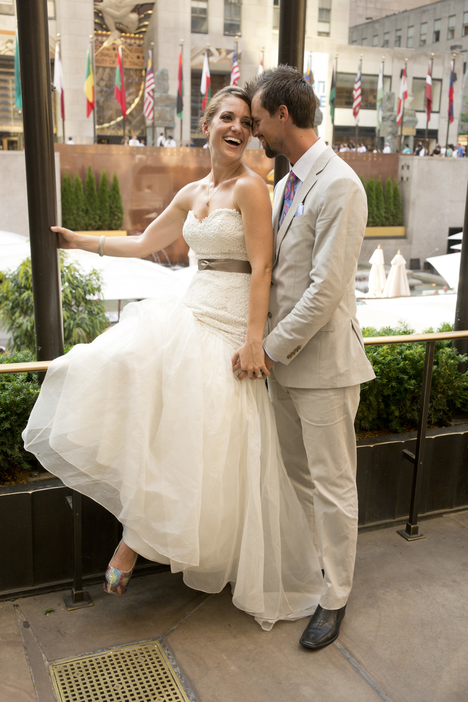 Bride and Groom in Rockafeller Center, NYC