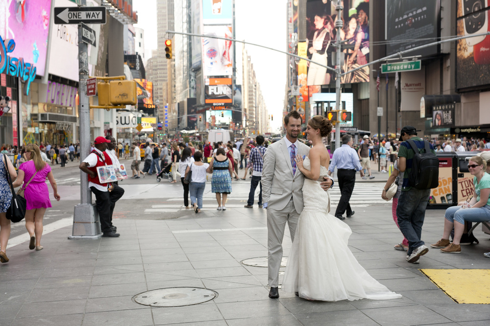 Bride and Groom in Times Square NYC