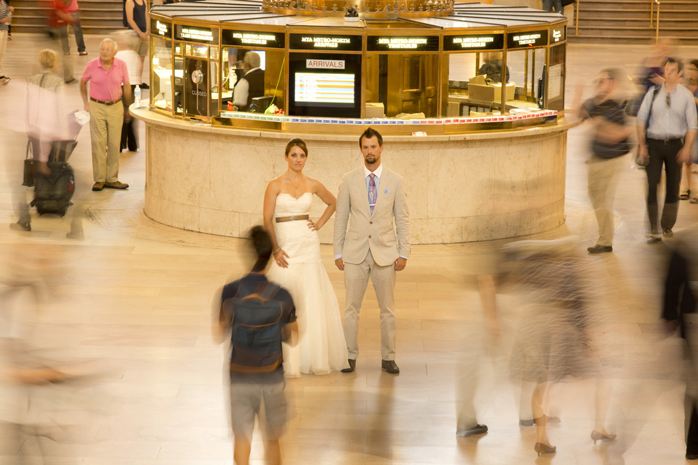 Bride and Groom in Grand Central Station NYC