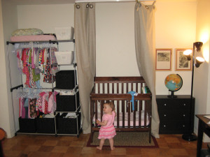 Mom and Dad have their bedroom to themselves and can put off moving until baby gets older. Baby girl loves her new space!