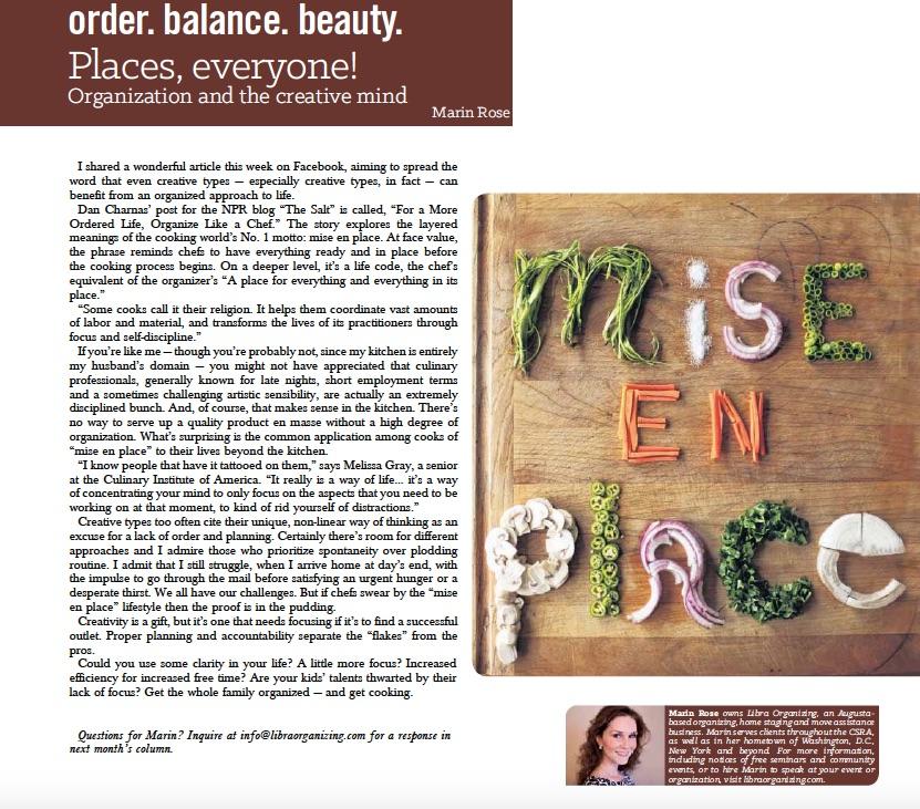 """""""Mise En Place"""" - Metro Augusta Parent Magazine"""