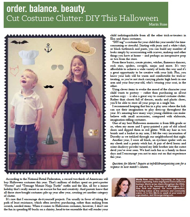 """Cut Costume Clutter""   - Metro Augusta Parent Magazine"
